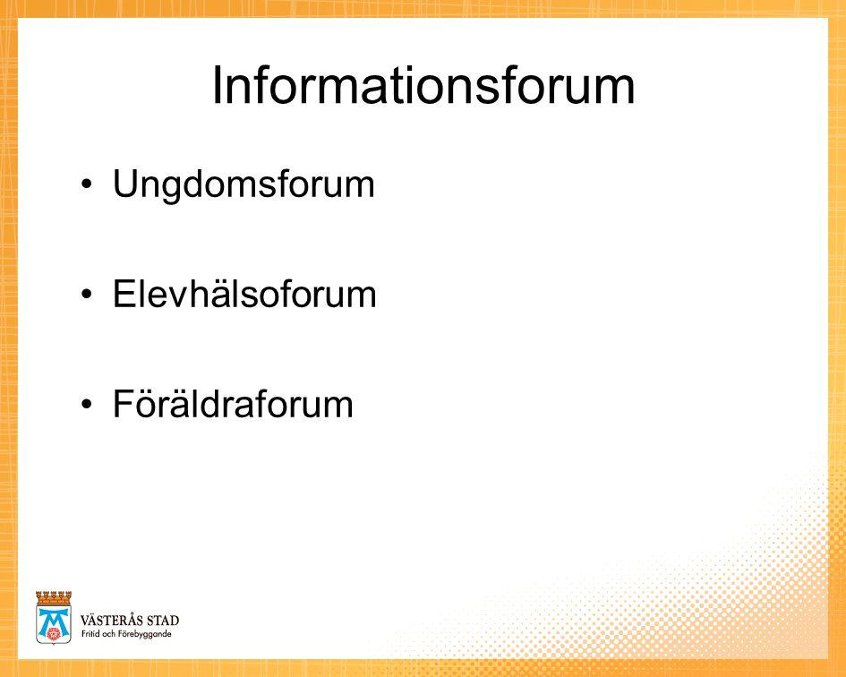 Informationsforum •Ungdomsforum •Elevhälsoforum •Föräldraforum