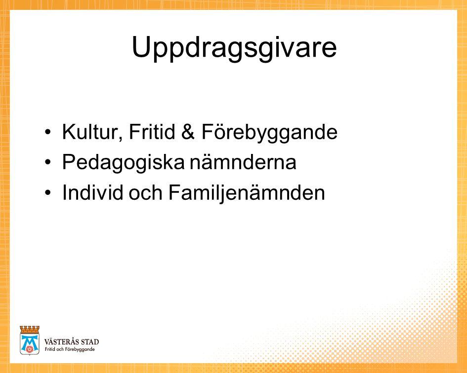 Uppdragsgivare •Kultur, Fritid & Förebyggande •Pedagogiska nämnderna •Individ och Familjenämnden