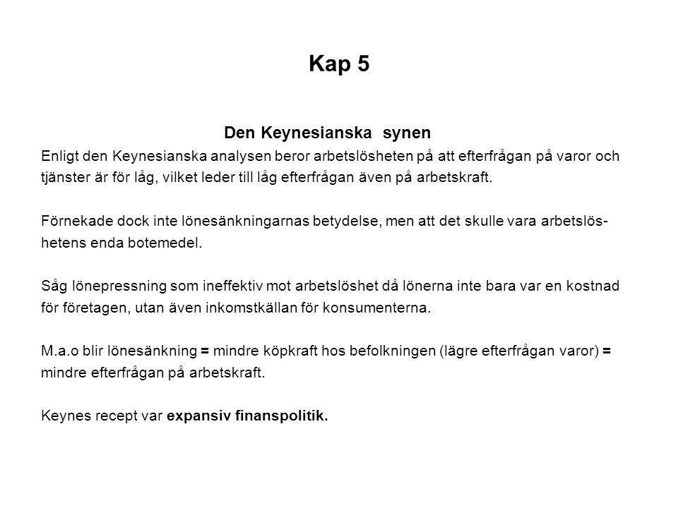 Kap 5 Den Keynesianska synen Enligt den Keynesianska analysen beror arbetslösheten på att efterfrågan på varor och tjänster är för låg, vilket leder t