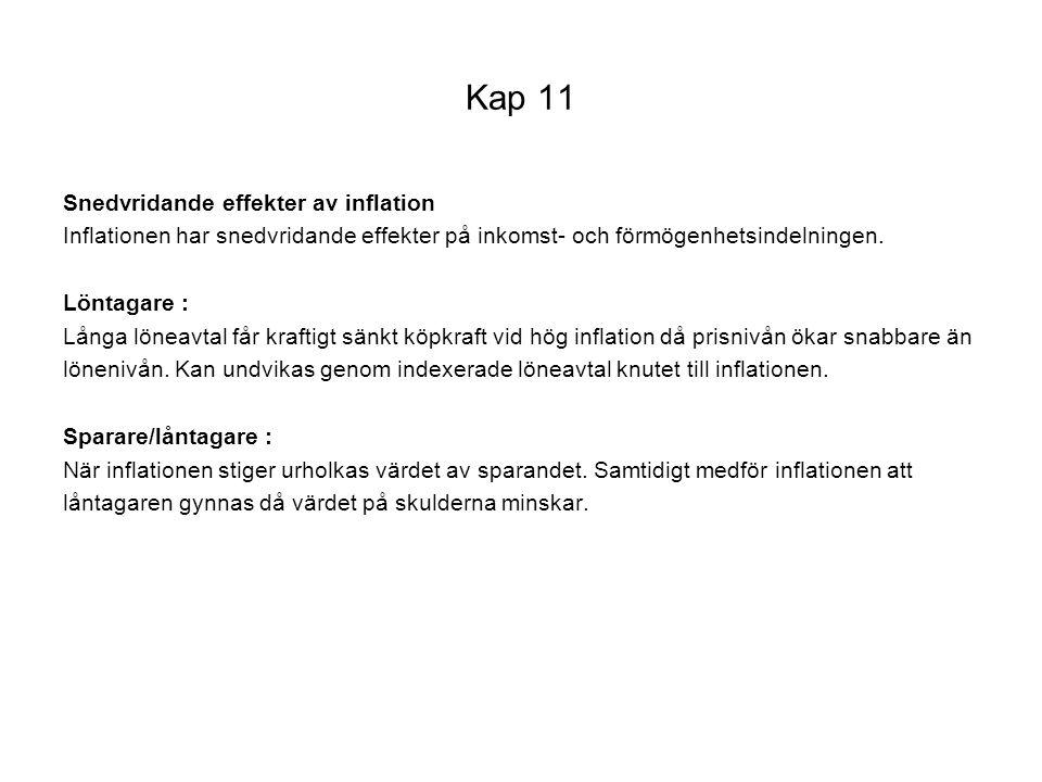 Kap 11 Snedvridande effekter av inflation Inflationen har snedvridande effekter på inkomst- och förmögenhetsindelningen. Löntagare : Långa löneavtal f
