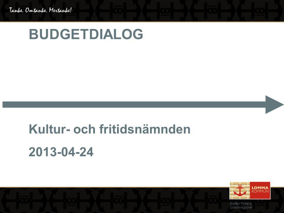 BUDGETDIALOG Kultur- och fritidsnämnden 2013-04-24 Staffan Friberg Utredningschef