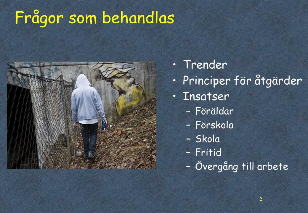2 Frågor som behandlas •Trender •Principer för åtgärder •Insatser –Föräldar –Förskola –Skola –Fritid –Övergång till arbete