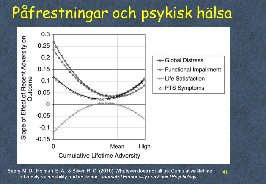 41 Påfrestningar och psykisk hälsa 41 Seery, M. D., Holman, E. A., & Silver, R. C. (2010). Whatever does not kill us: Cumulative lifetime adversity, v
