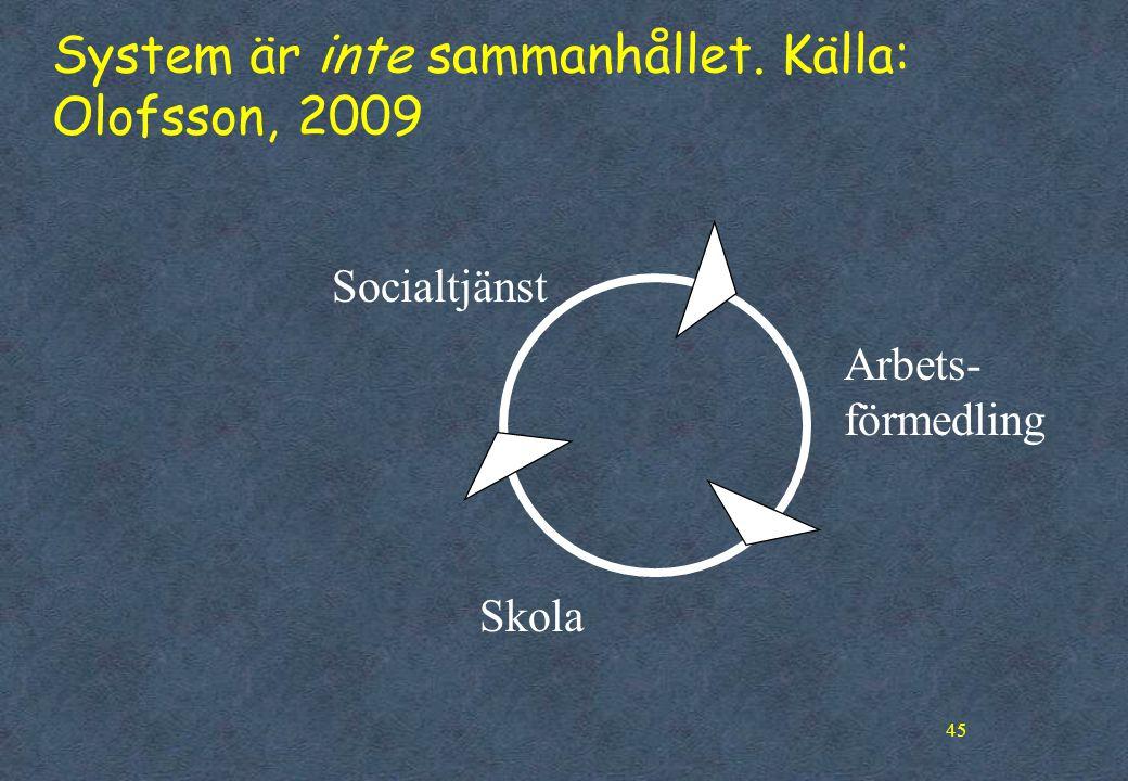 45 System är inte sammanhållet. Källa: Olofsson, 2009 Arbets- förmedling Socialtjänst Skola