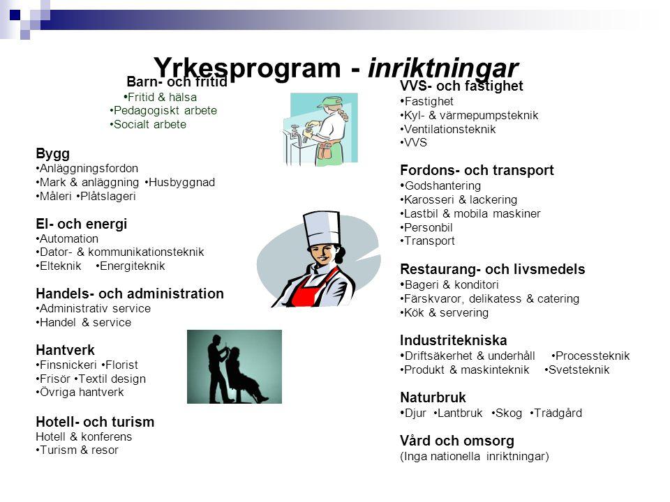 Yrkesprogram - inriktningar Barn- och fritid •Fritid & hälsa •Pedagogiskt arbete •Socialt arbete Bygg •Anläggningsfordon •Mark & anläggning •Husbyggna