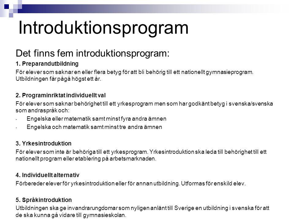 Introduktionsprogram Det finns fem introduktionsprogram: 1. Preparandutbildning För elever som saknar en eller flera betyg för att bli behörig till et