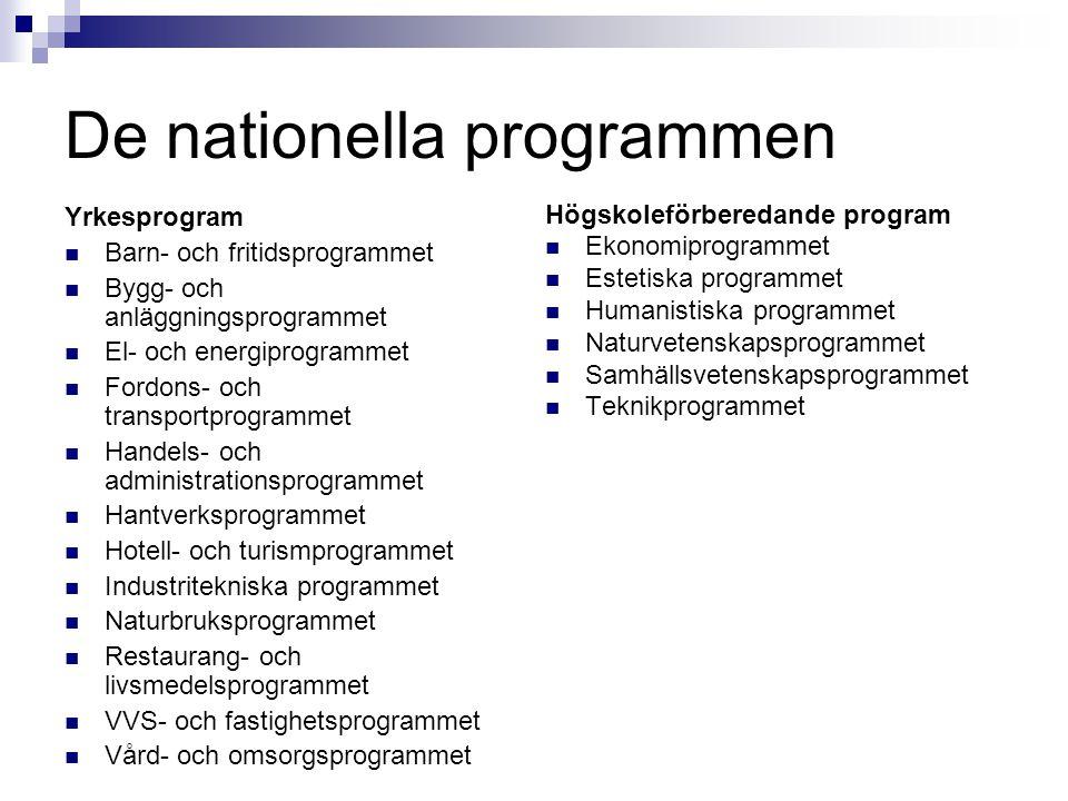 De nationella programmen Yrkesprogram  Barn- och fritidsprogrammet  Bygg- och anläggningsprogrammet  El- och energiprogrammet  Fordons- och transp