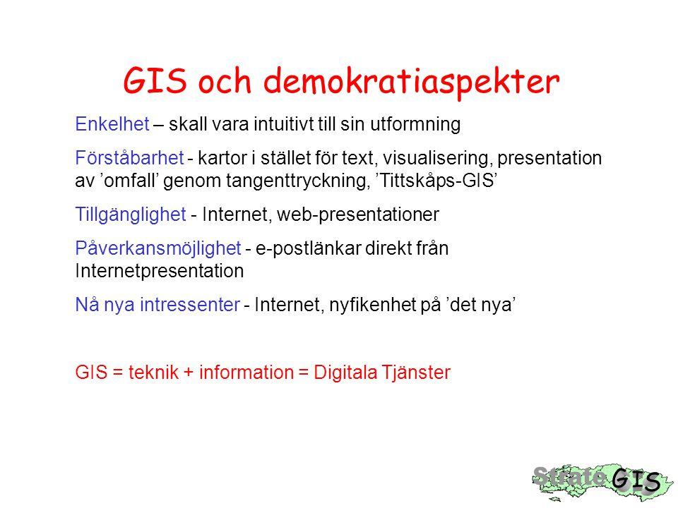 GIS och demokratiaspekter Enkelhet – skall vara intuitivt till sin utformning Förståbarhet - kartor i stället för text, visualisering, presentation av 'omfall' genom tangenttryckning, 'Tittskåps-GIS' Tillgänglighet - Internet, web-presentationer Påverkansmöjlighet - e-postlänkar direkt från Internetpresentation Nå nya intressenter - Internet, nyfikenhet på 'det nya' GIS = teknik + information = Digitala Tjänster
