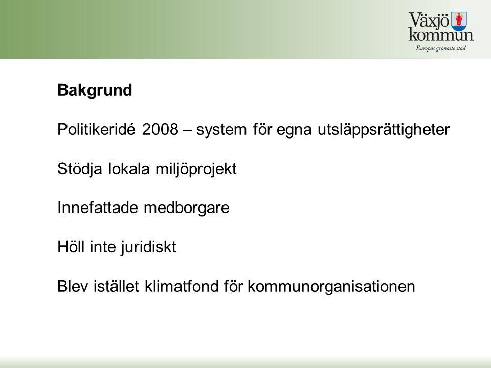 Bakgrund Politikeridé 2008 – system för egna utsläppsrättigheter Stödja lokala miljöprojekt Innefattade medborgare Höll inte juridiskt Blev istället klimatfond för kommunorganisationen