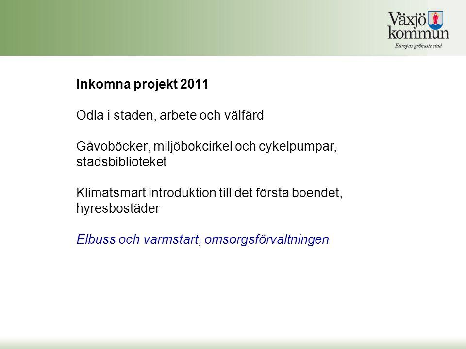 Inkomna projekt 2011 Odla i staden, arbete och välfärd Gåvoböcker, miljöbokcirkel och cykelpumpar, stadsbiblioteket Klimatsmart introduktion till det första boendet, hyresbostäder Elbuss och varmstart, omsorgsförvaltningen