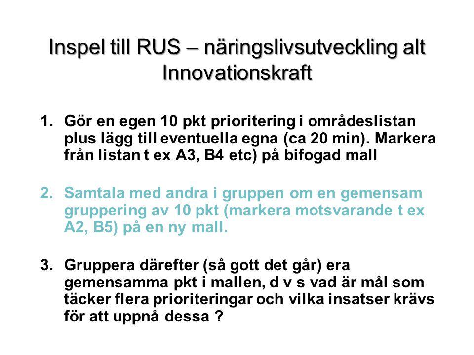 Inspel till RUS – näringslivsutveckling alt Innovationskraft 1.Gör en egen 10 pkt prioritering i områdeslistan plus lägg till eventuella egna (ca 20 min).