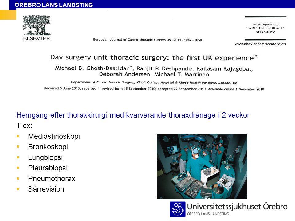 ÖREBRO LÄNS LANDSTING Hemgång efter thoraxkirurgi med kvarvarande thoraxdränage i 2 veckor T ex:  Mediastinoskopi  Bronkoskopi  Lungbiopsi  Pleurabiopsi  Pneumothorax  Sårrevision