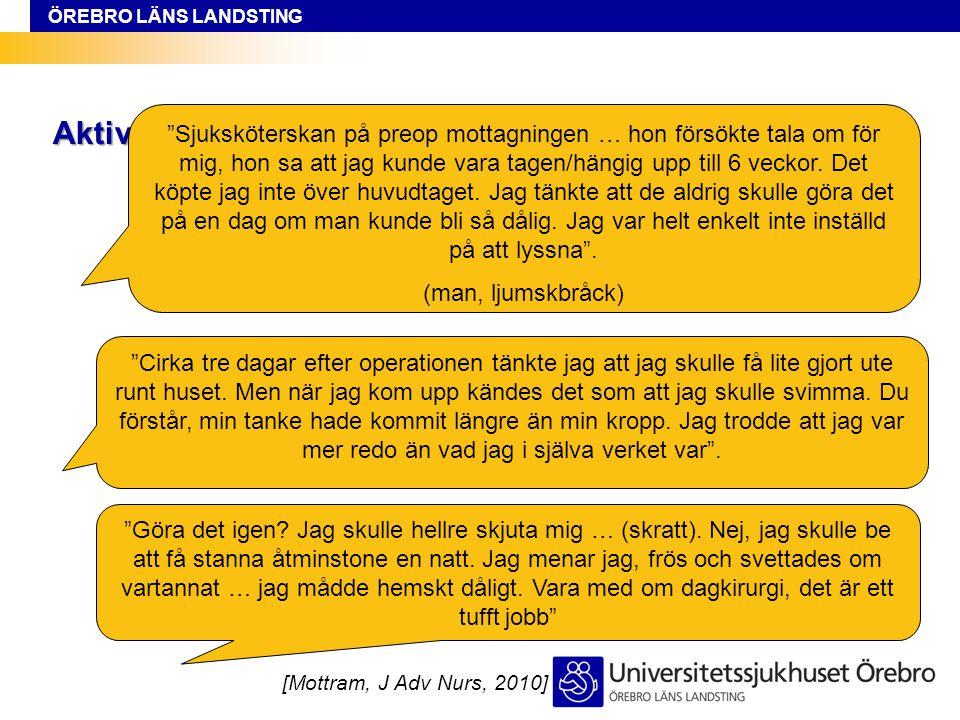 """ÖREBRO LÄNS LANDSTING Aktivt undvika rollen som sjuk [Mottram, J Adv Nurs, 2010] """"Cirka tre dagar efter operationen tänkte jag att jag skulle få lite"""