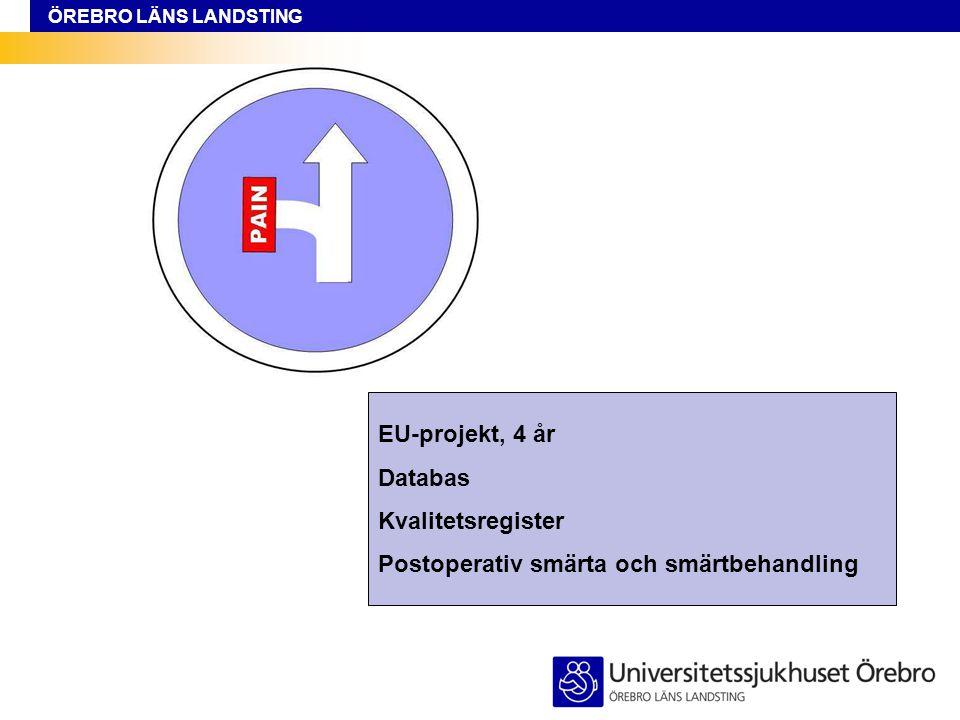 ÖREBRO LÄNS LANDSTING EU-projekt, 4 år Databas Kvalitetsregister Postoperativ smärta och smärtbehandling