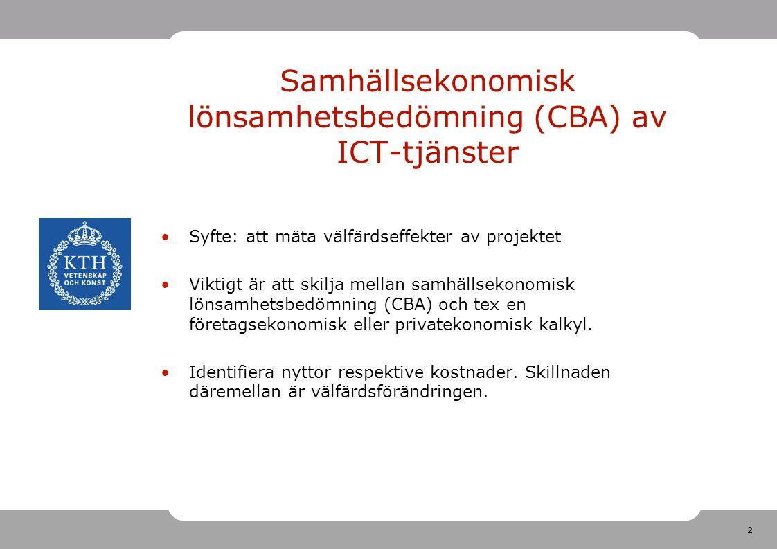2 Samhällsekonomisk lönsamhetsbedömning (CBA) av ICT-tjänster •Syfte: att mäta välfärdseffekter av projektet •Viktigt är att skilja mellan samhällsekonomisk lönsamhetsbedömning (CBA) och tex en företagsekonomisk eller privatekonomisk kalkyl.