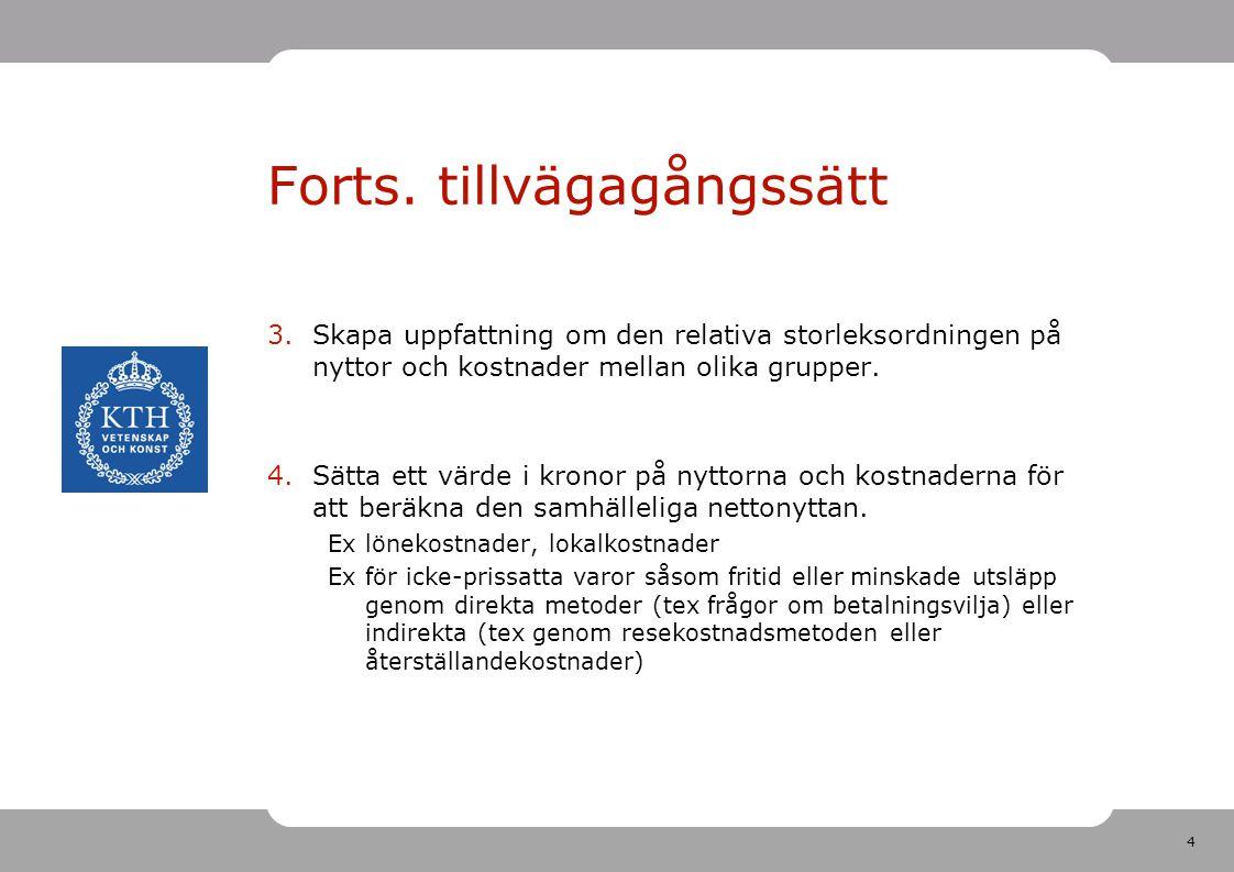 4 Forts. tillvägagångssätt 3.Skapa uppfattning om den relativa storleksordningen på nyttor och kostnader mellan olika grupper. 4.Sätta ett värde i kro