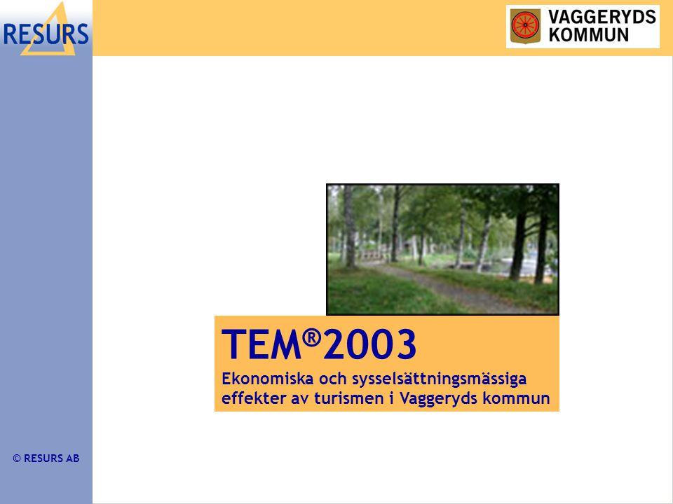 © RESURS AB TEM ® 2003 Ekonomiska och sysselsättningsmässiga effekter av turismen i Vaggeryds kommun