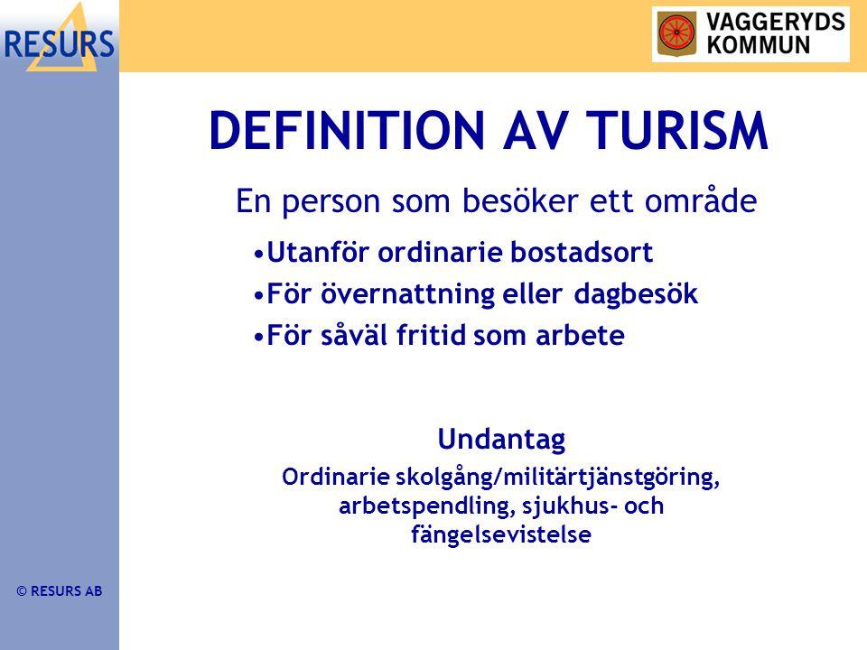 © RESURS AB TDB GER SVAR PÅ •Var startar resan •Vad är resmålet •Färdmedel •Affär eller fritid •Dagresa eller övernattning •Boendeform •Syfte •Spenderade pengar
