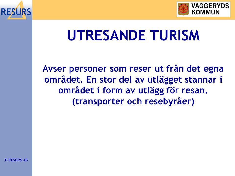 © RESURS AB UTRESANDE TURISM Avser personer som reser ut från det egna området.