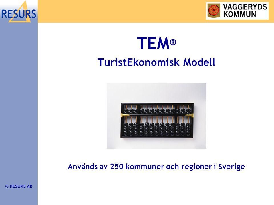 © RESURS AB TEM ® För att studera: •Nuläge/resultat •Planering/målsättning •Investeringar •Evenemang
