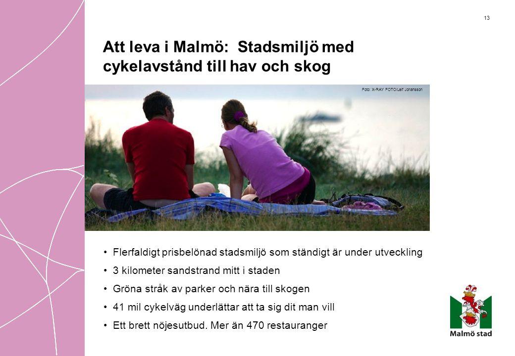 13 Att leva i Malmö: Stadsmiljö med cykelavstånd till hav och skog •Flerfaldigt prisbelönad stadsmiljö som ständigt är under utveckling •3 kilometer s