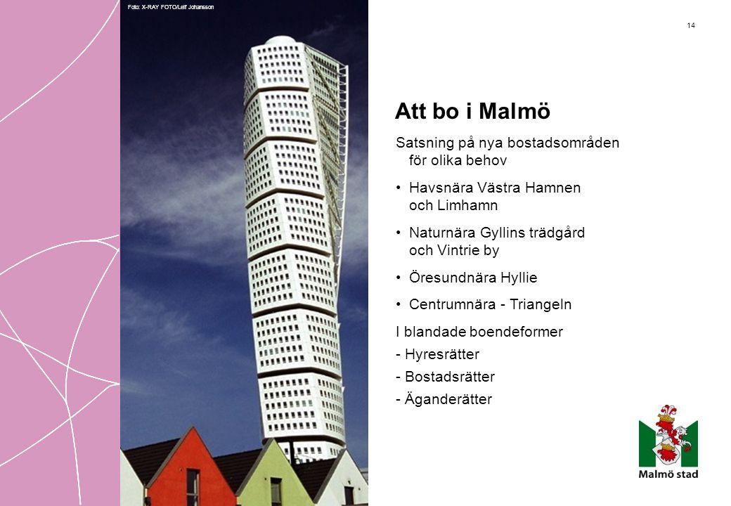 14 Att bo i Malmö Satsning på nya bostadsområden för olika behov •Havsnära Västra Hamnen och Limhamn •Naturnära Gyllins trädgård och Vintrie by •Öresu