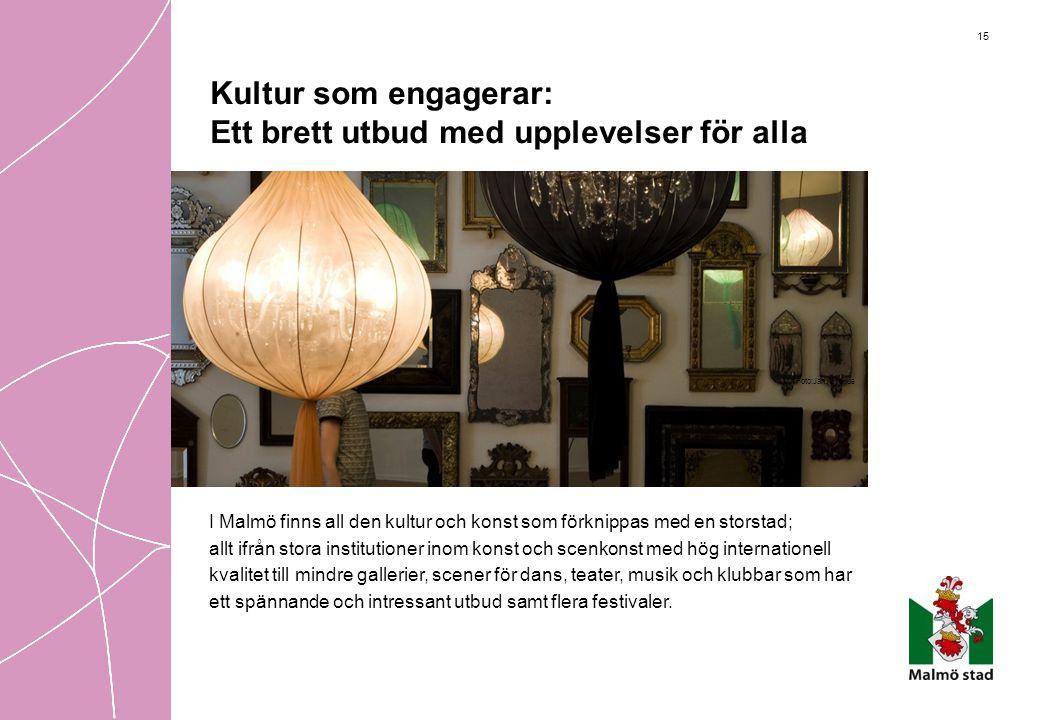 15 Kultur som engagerar: Ett brett utbud med upplevelser för alla I Malmö finns all den kultur och konst som förknippas med en storstad; allt ifrån st