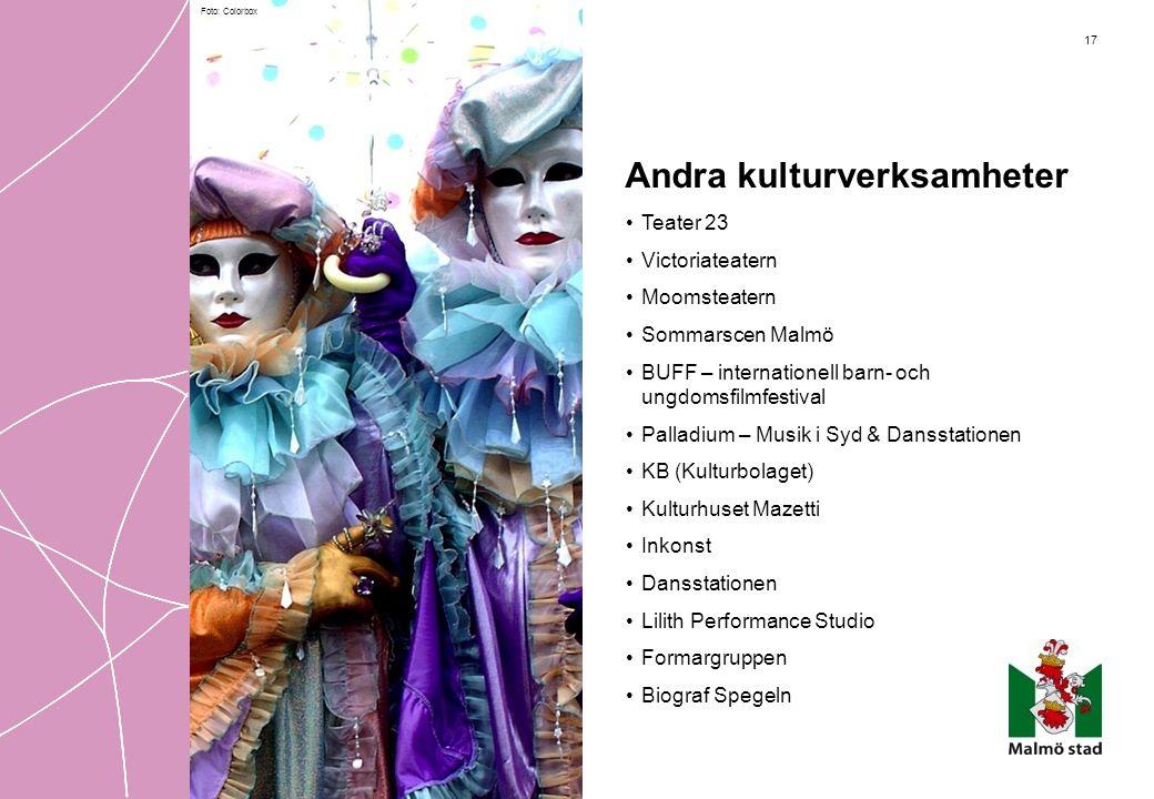 17 Andra kulturverksamheter • Teater 23 • Victoriateatern • Moomsteatern • Sommarscen Malmö • BUFF – internationell barn- och ungdomsfilmfestival • Pa