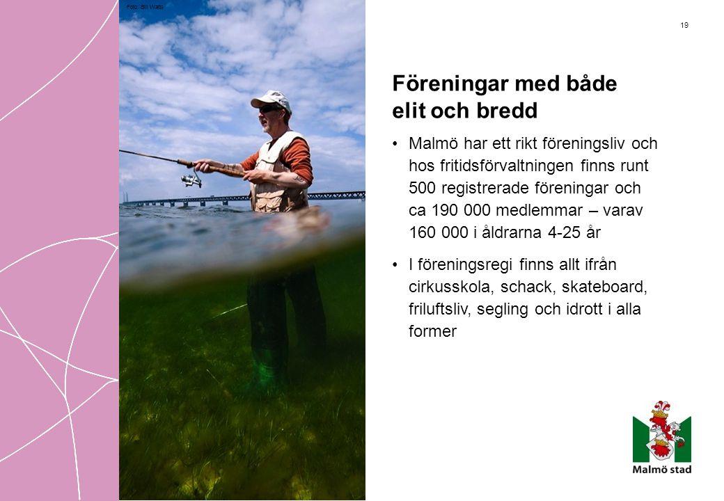19 Föreningar med både elit och bredd •Malmö har ett rikt föreningsliv och hos fritidsförvaltningen finns runt 500 registrerade föreningar och ca 190