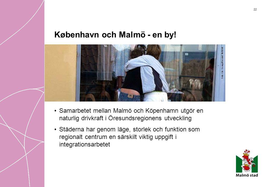 22 København och Malmö - en by! •Samarbetet mellan Malmö och Köpenhamn utgör en naturlig drivkraft i Öresundsregionens utveckling •Städerna har genom