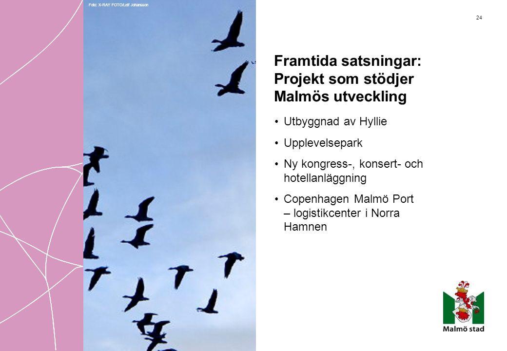 24 Framtida satsningar: Projekt som stödjer Malmös utveckling •Utbyggnad av Hyllie •Upplevelsepark •Ny kongress-, konsert- och hotellanläggning •Copen