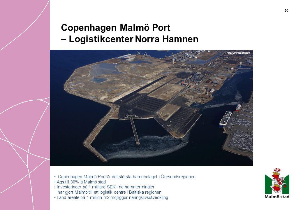 30 Copenhagen Malmö Port – Logistikcenter Norra Hamnen Foto: CMP logistikpark • Copenhagen-Malmö Port är det största hamnbolaget i Öresundsregionen •