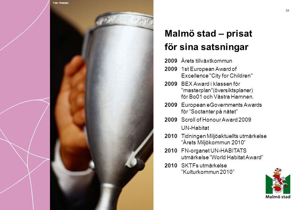 34 Malmö stad – prisat för sina satsningar 2009 Årets tillväxtkommun 2009 1st European Award of Excellence