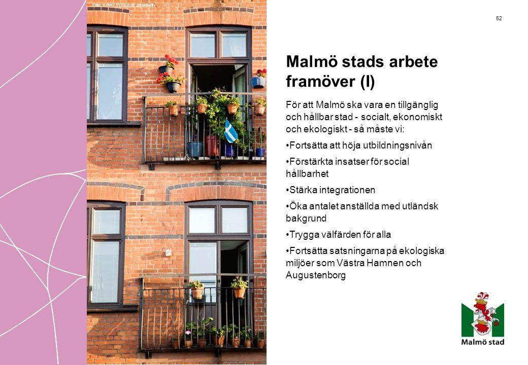52 Malmö stads arbete framöver (I) För att Malmö ska vara en tillgänglig och hållbar stad - socialt, ekonomiskt och ekologiskt - så måste vi: •Fortsät