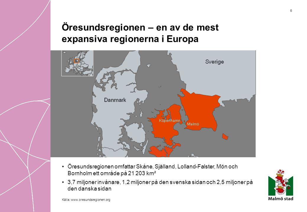 6 Öresundsregionen – en av de mest expansiva regionerna i Europa •Öresundsregionen omfattar Skåne, Själland, Lolland-Falster, Mön och Bornholm ett omr