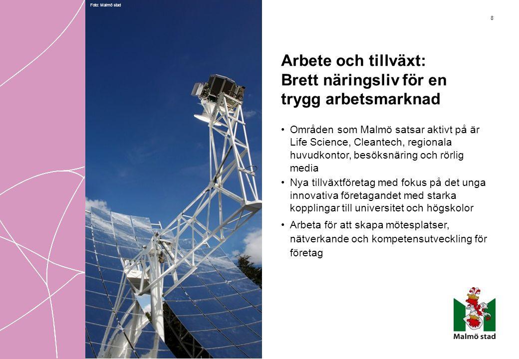 8 Arbete och tillväxt: Brett näringsliv för en trygg arbetsmarknad •Områden som Malmö satsar aktivt på är Life Science, Cleantech, regionala huvudkont