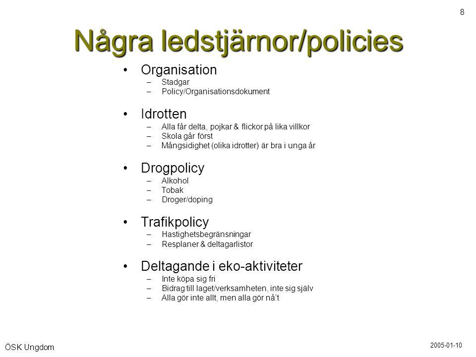 2005-01-10 8 ÖSK Ungdom Några ledstjärnor/policies •Organisation –Stadgar –Policy/Organisationsdokument •Idrotten –Alla får delta, pojkar & flickor på