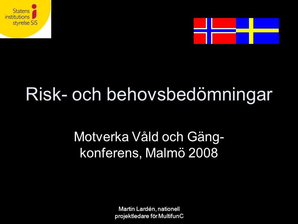 Martin Lardén, nationell projektledare för MultifunC Risk- och behovsbedömningar Motverka Våld och Gäng- konferens, Malmö 2008