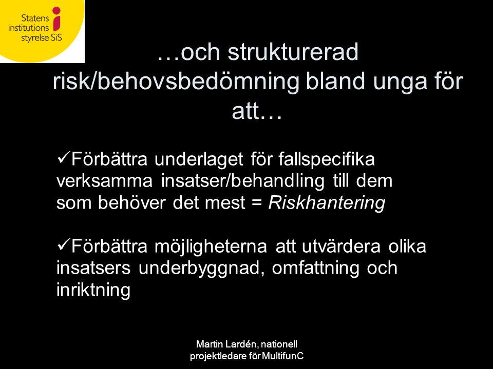 Martin Lardén, nationell projektledare för MultifunC  Förbättra underlaget för fallspecifika verksamma insatser/behandling till dem som behöver det m