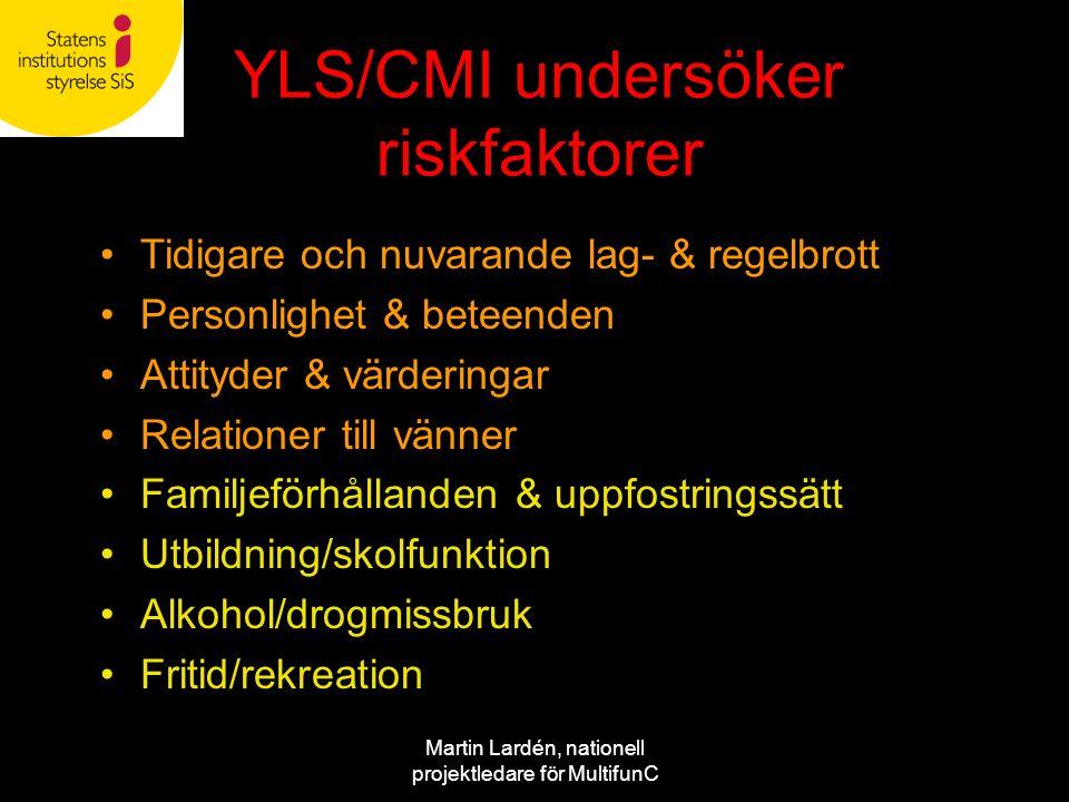 Martin Lardén, nationell projektledare för MultifunC YLS/CMI undersöker riskfaktorer •Tidigare och nuvarande lag- & regelbrott •Personlighet & beteend
