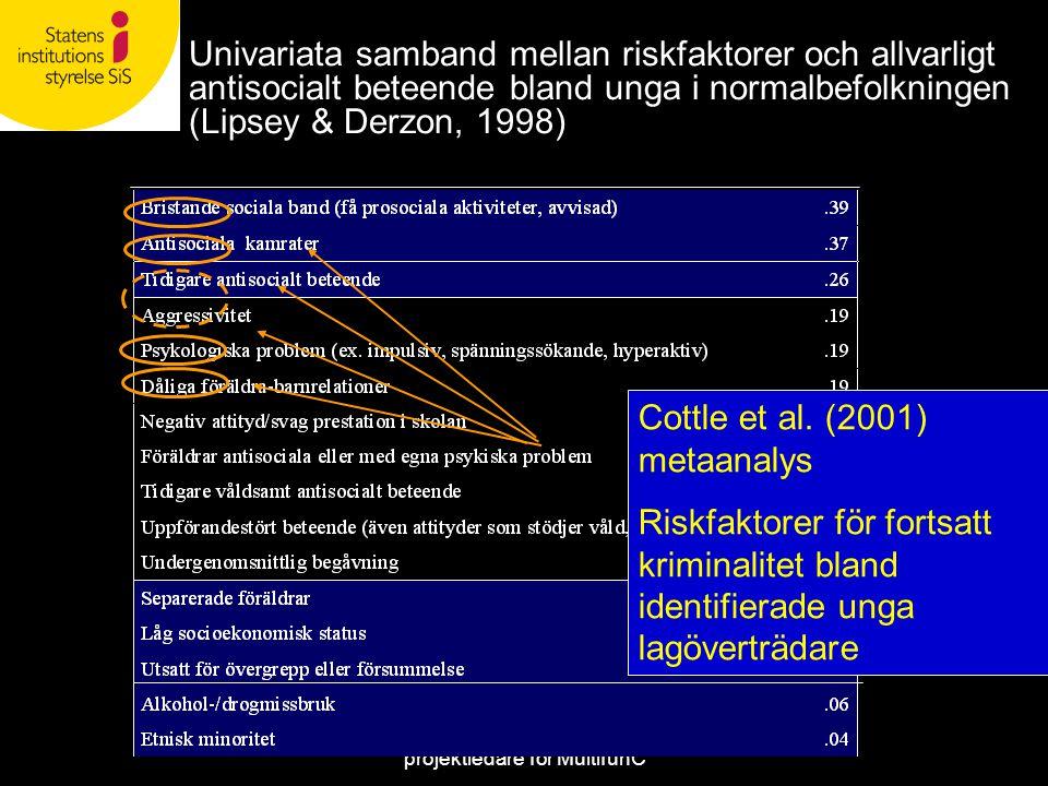Martin Lardén, nationell projektledare för MultifunC Univariata samband mellan riskfaktorer och allvarligt antisocialt beteende bland unga i normalbef