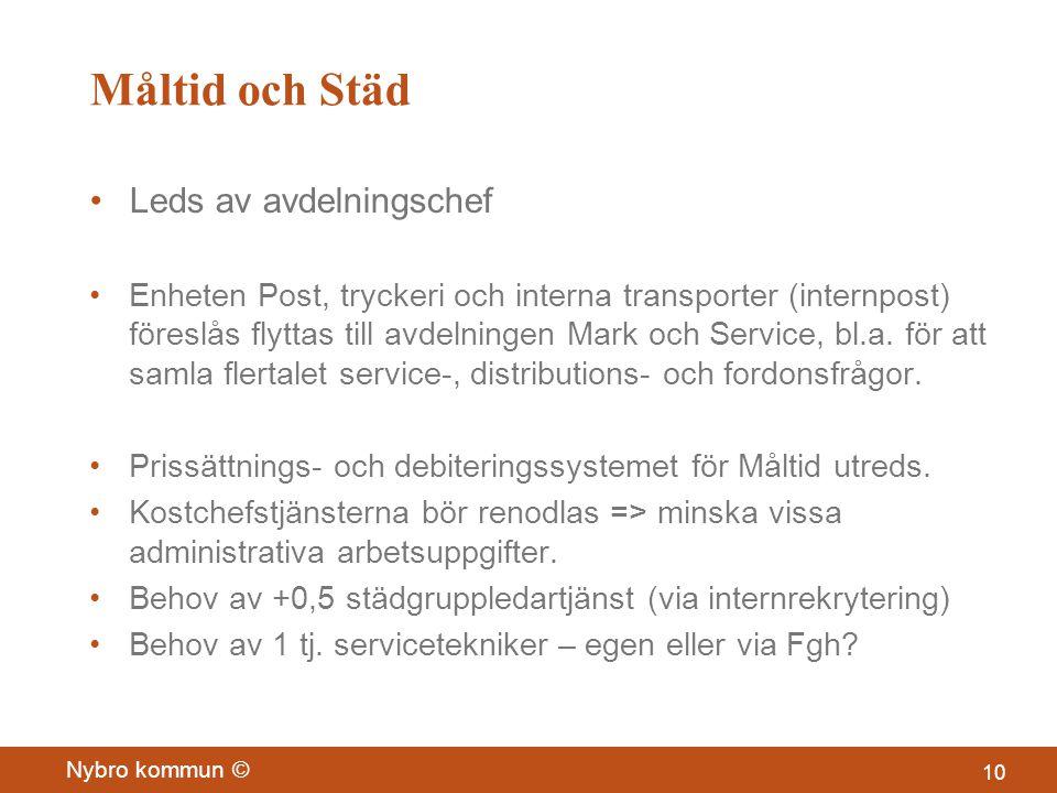 Måltid och Städ •Leds av avdelningschef •Enheten Post, tryckeri och interna transporter (internpost) föreslås flyttas till avdelningen Mark och Service, bl.a.
