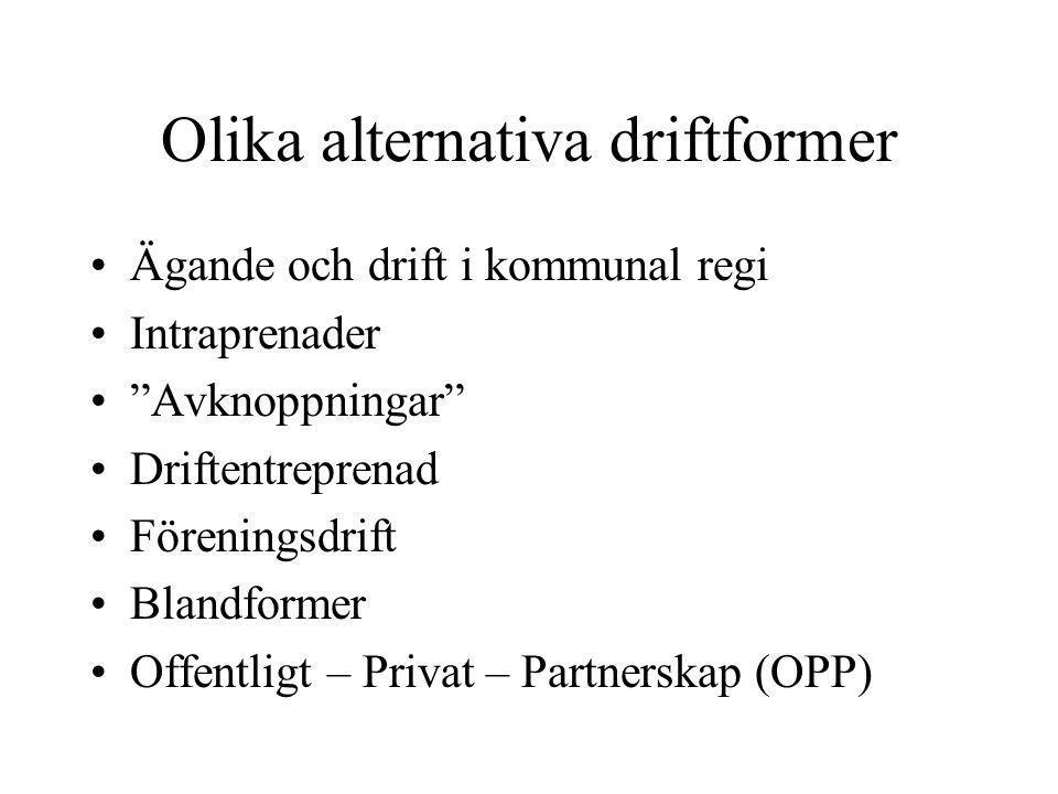 """Olika alternativa driftformer •Ägande och drift i kommunal regi •Intraprenader •""""Avknoppningar"""" •Driftentreprenad •Föreningsdrift •Blandformer •Offent"""
