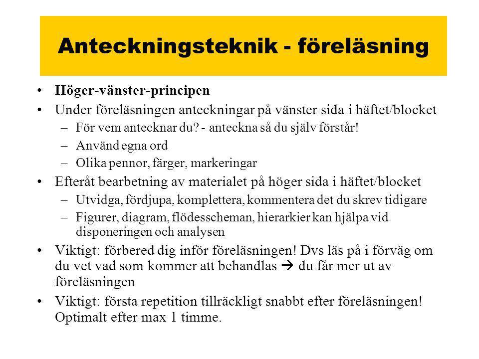 Anteckningsteknik - föreläsning •Höger-vänster-principen •Under föreläsningen anteckningar på vänster sida i häftet/blocket –För vem antecknar du.