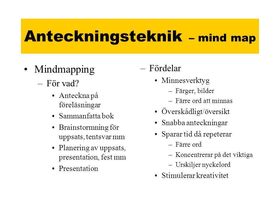 Anteckningsteknik – mind map •Mindmapping –För vad.