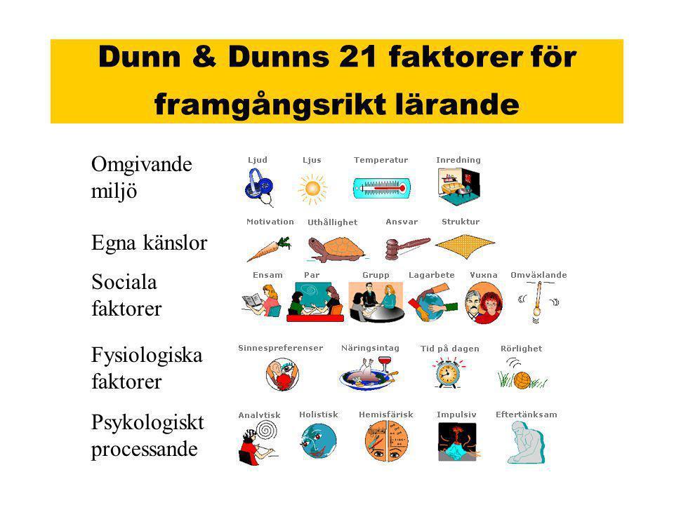 Dunn & Dunns 21 faktorer för framgångsrikt lärande Omgivande miljö Egna känslor Sociala faktorer Fysiologiska faktorer Psykologiskt processande