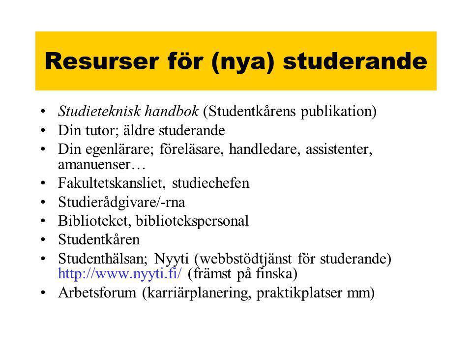 Resurser för (nya) studerande •Studieteknisk handbok (Studentkårens publikation) •Din tutor; äldre studerande •Din egenlärare; föreläsare, handledare, assistenter, amanuenser… •Fakultetskansliet, studiechefen •Studierådgivare/-rna •Biblioteket, bibliotekspersonal •Studentkåren •Studenthälsan; Nyyti (webbstödtjänst för studerande) http://www.nyyti.fi/ (främst på finska) •Arbetsforum (karriärplanering, praktikplatser mm)