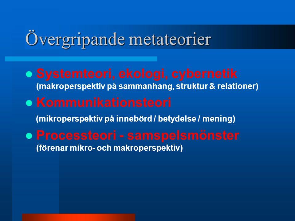 Övergripande metateorier  Systemteori, ekologi, cybernetik (makroperspektiv på sammanhang, struktur & relationer)  Kommunikationsteori (mikroperspektiv på innebörd / betydelse / mening)  Processteori - samspelsmönster (förenar mikro- och makroperspektiv)