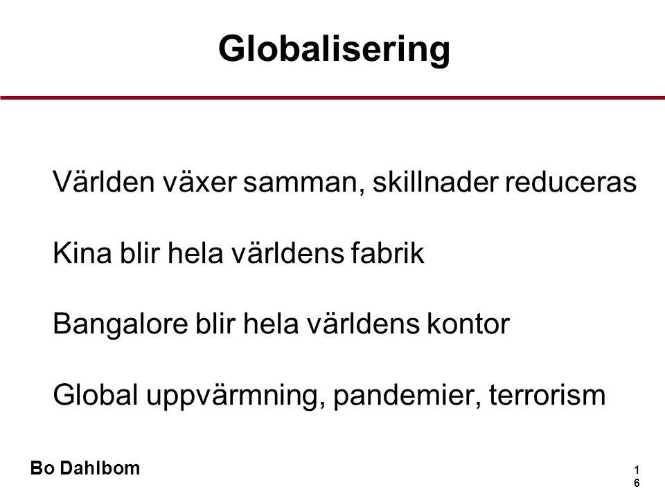 Bo Dahlbom 1616 Globalisering •Världen växer samman, skillnader reduceras •Kina blir hela världens fabrik •Bangalore blir hela världens kontor •Global uppvärmning, pandemier, terrorism