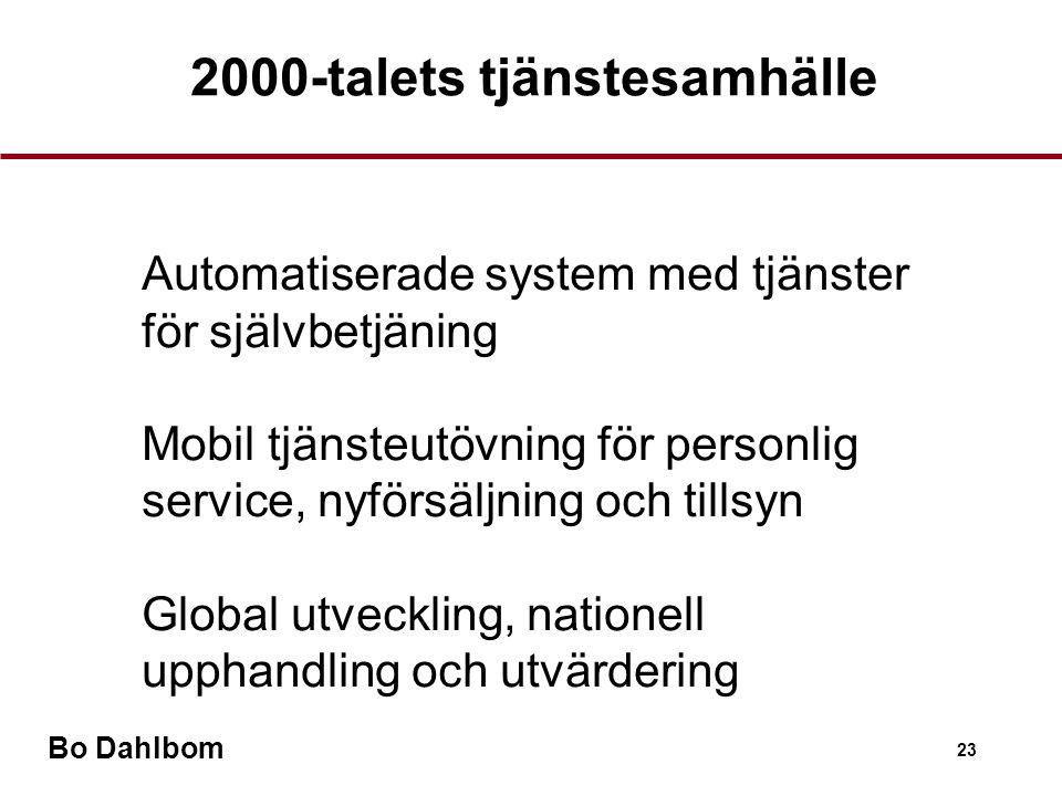 Bo Dahlbom 23 2000-talets tjänstesamhälle •Automatiserade system med tjänster för självbetjäning •Mobil tjänsteutövning för personlig service, nyförsäljning och tillsyn •Global utveckling, nationell upphandling och utvärdering